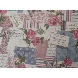 Coupon coton et lin roses...