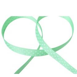 Ruban vert pois blanc 9...